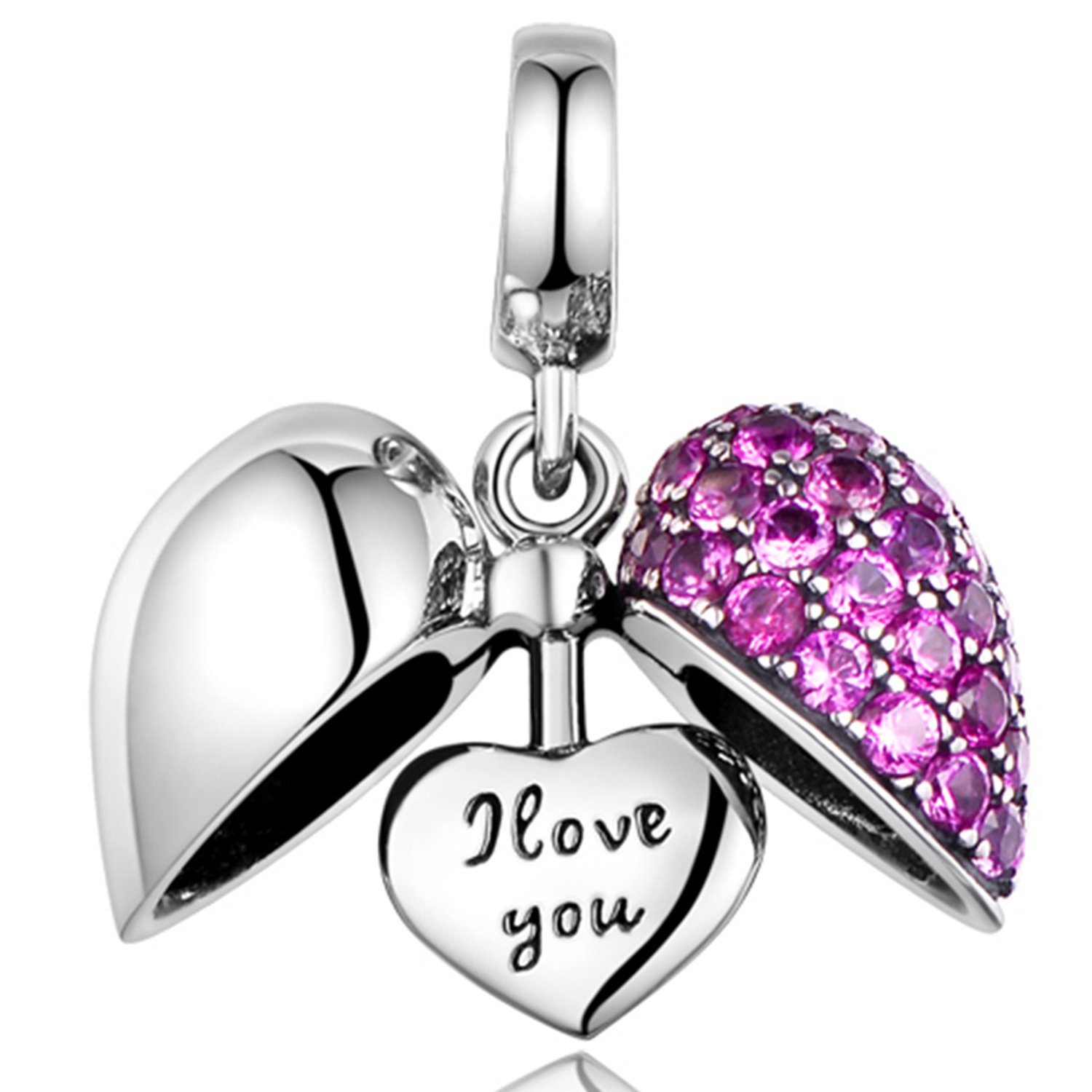 925 Sterling Silver Charm - Love Heart Crystal Bead for Pandora Bracelet - Purple