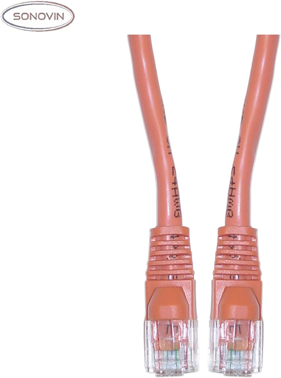 Cat6 Orange Ethernet Crossover Cable Snagless//Molded Boot 25 Foot Color:Orange Sonovin