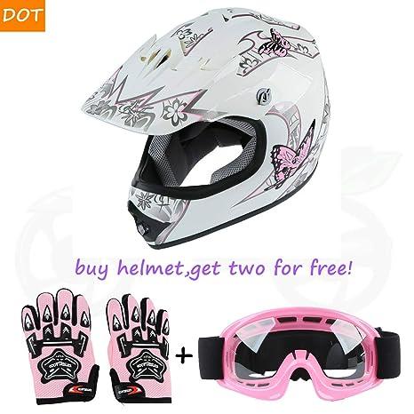 DOT Youth Kids Blue Skull Dirt Bike ATV Helmet Motocross Goggles+Gloves S M L XL