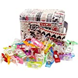 Multipurpose Sewing Clips With Tin Box, Pack of 100 Wonder Clips Assorted Colors for Sewing Craft Clamps Crafting…