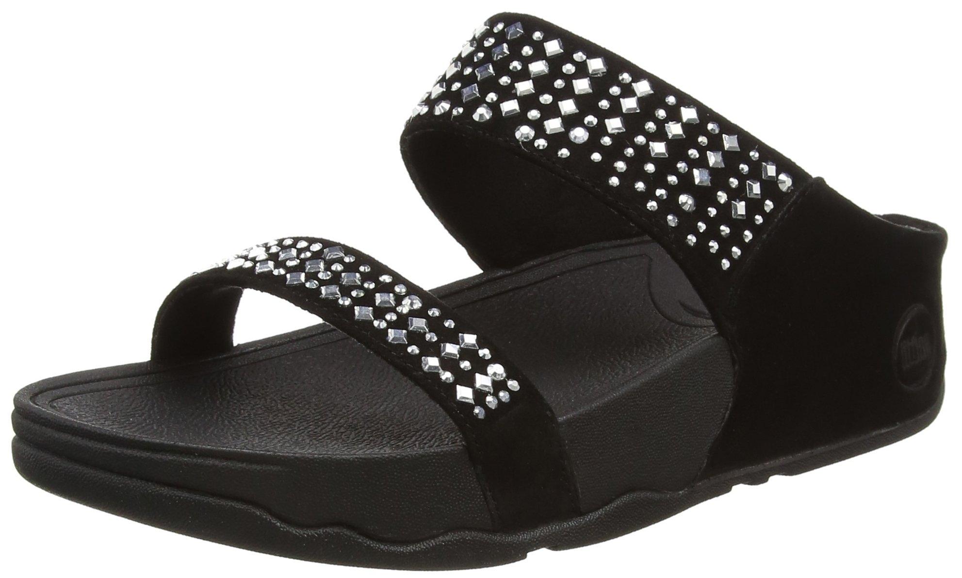FitFlop Women's Novy Slide Sandal, black, 9 M US