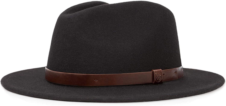 Brixton Men's Messer Medium Brim Felt Fedora Hat: Clothing