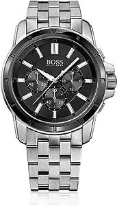 Hugo Boss Aeroliner For Men Black Dial Leather Band Chronograph Watch - 1512448