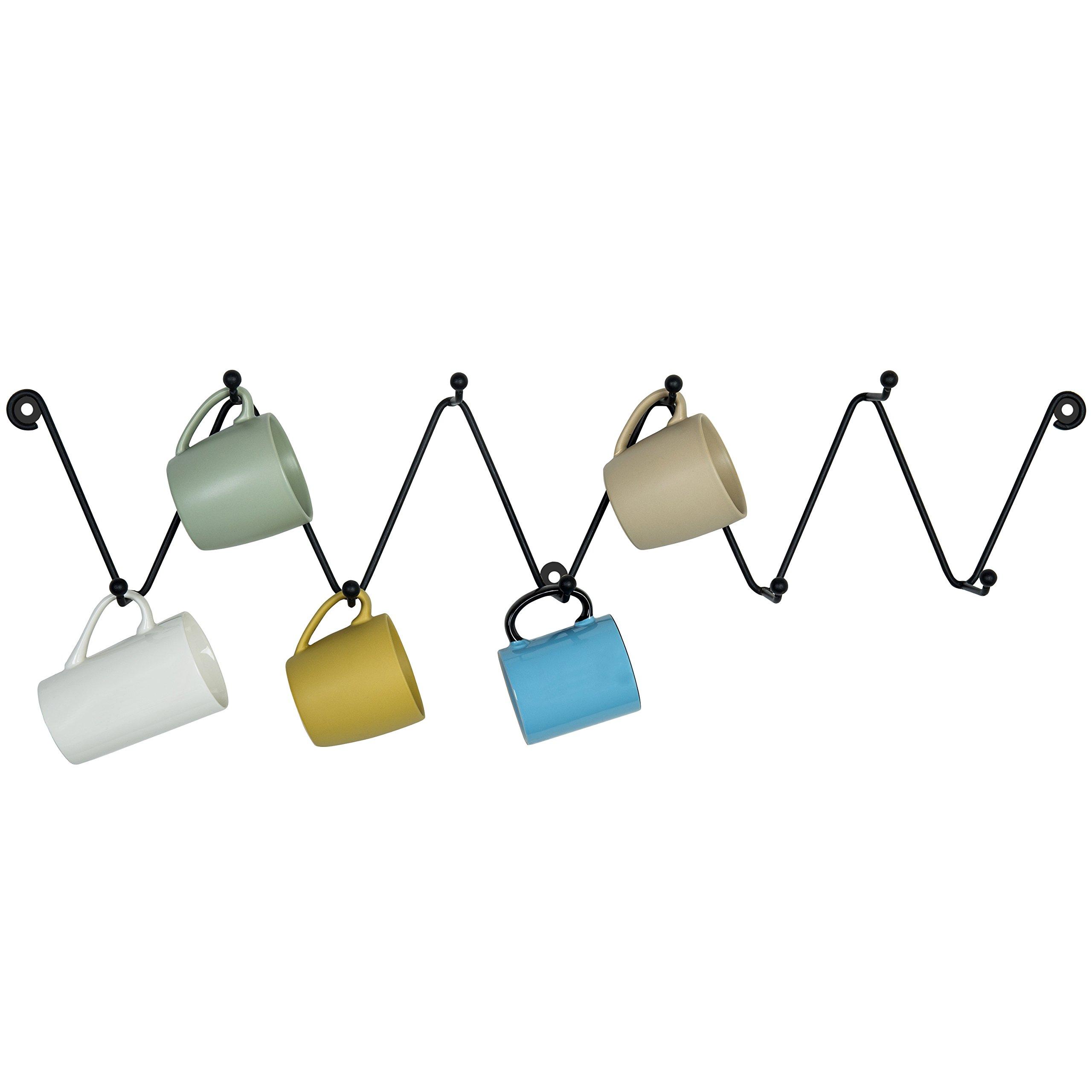 MyGift Metal Zigzag Design 9-Hook Wall Mounted Coffee Mug Rack, Kitchen & Bathroom Towel Hanger Hooks, Black