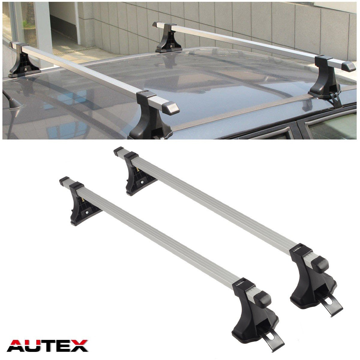 AUTEX 48'' Aluminum Universal Roof Rack Crossbar Roof Top Cargo Rail Racks Luggage Carrier Cross Bar Most Car Sedans SUVs Pickups