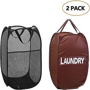 LABOTA 2 Pop-Up Laundry Hamper Foldable Pop-Up Mesh Hamper with Reinforced Carry Handles, Laundry Mesh Basket (Black +Brown, Large Size)