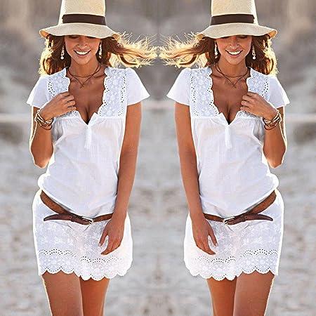 Overdose Women Summer V Neck Lace Short Sleeve Dress Blanco Todos los días Vacaciones Playa De Moda Vender Falda Corta