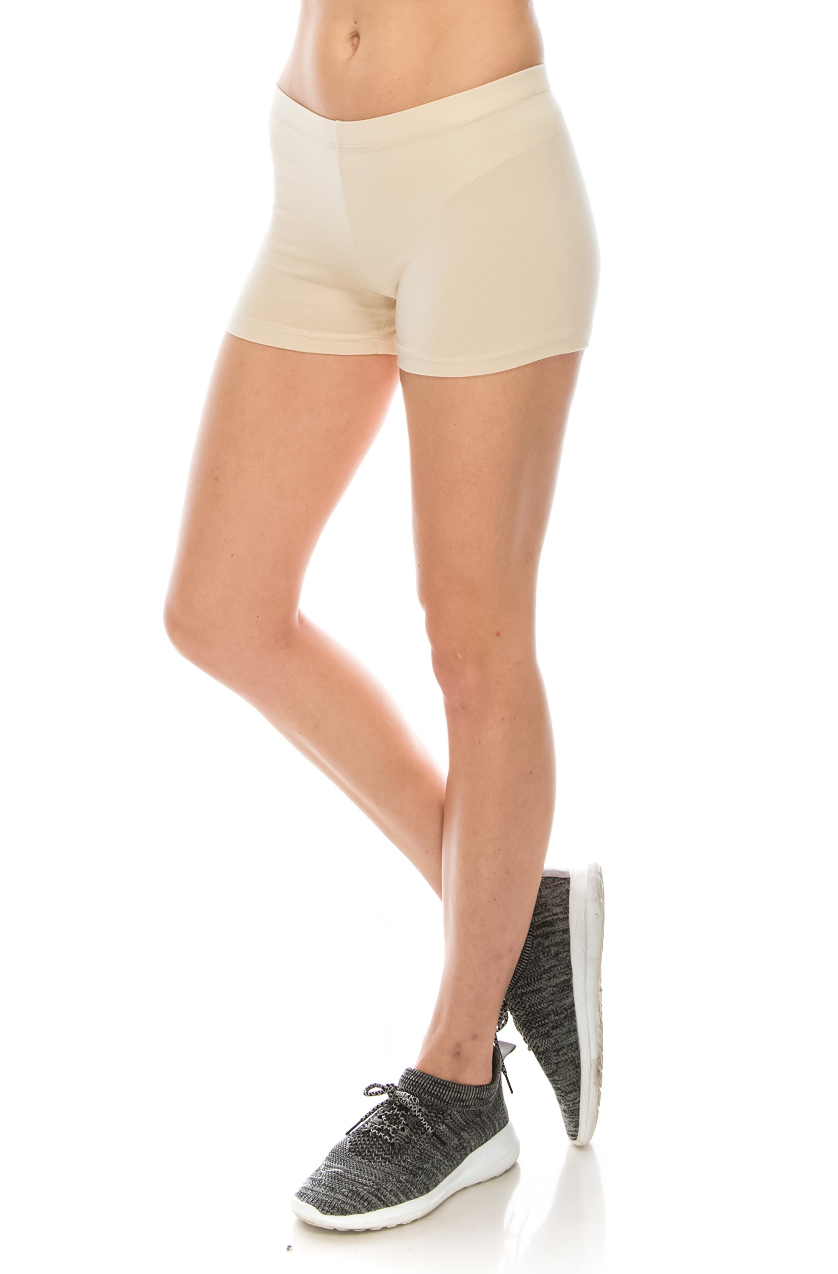 CNC STYLE Women's Regular/Plus Soild Stretch Mini Dance Yoga Workout Underskirt Pant Cotton Booty Shorts Leggings Underwear (Small, Nude)