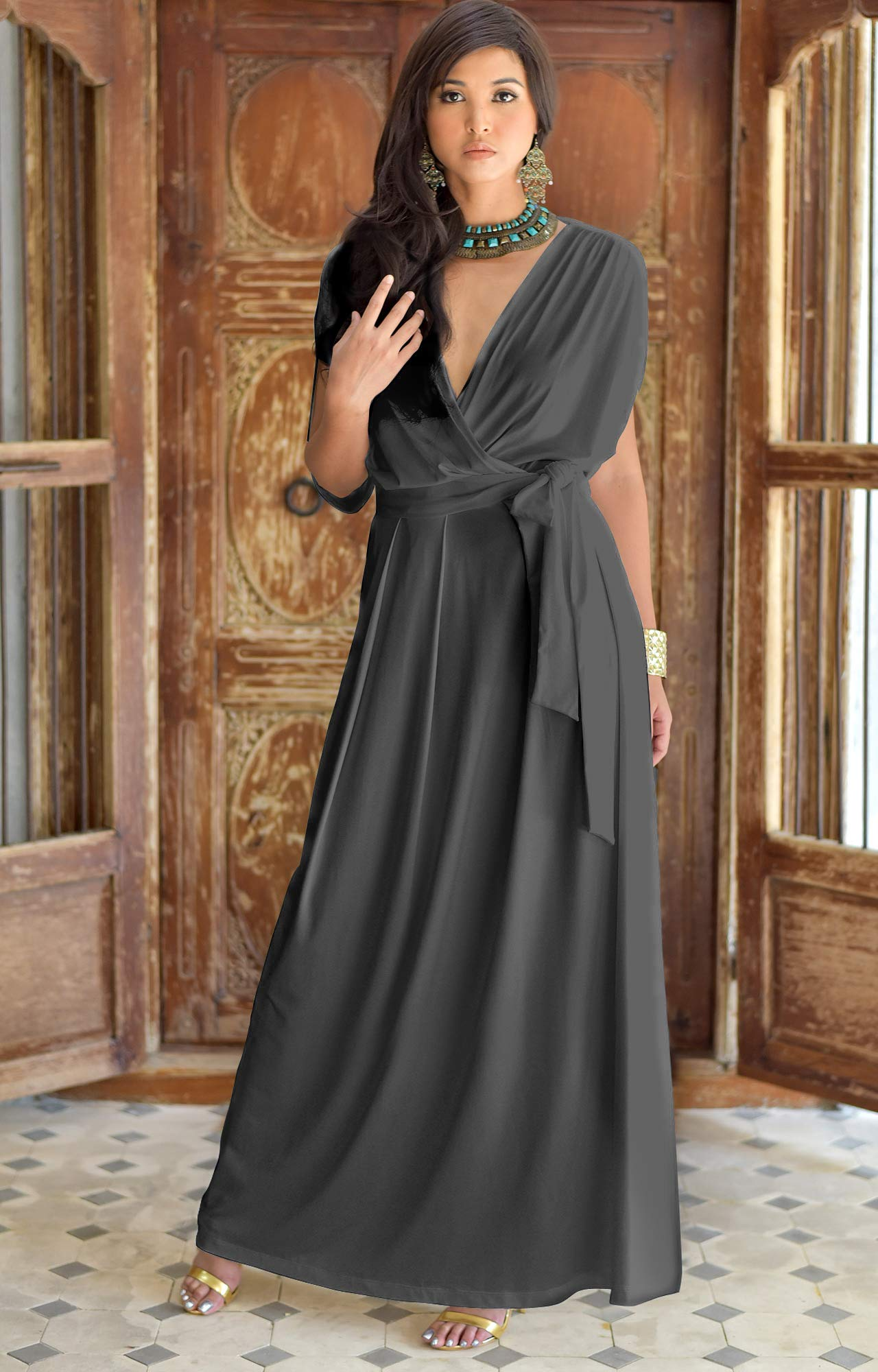 best sale new appearance great prices KOH KOH Petite Womens Long Semi-Formal Short Sleeve V-Neck Full Floor  Length V-Neck Flowy Cocktail Wedding Guest Party Bridesmaid Maxi Dress  Dresses ...