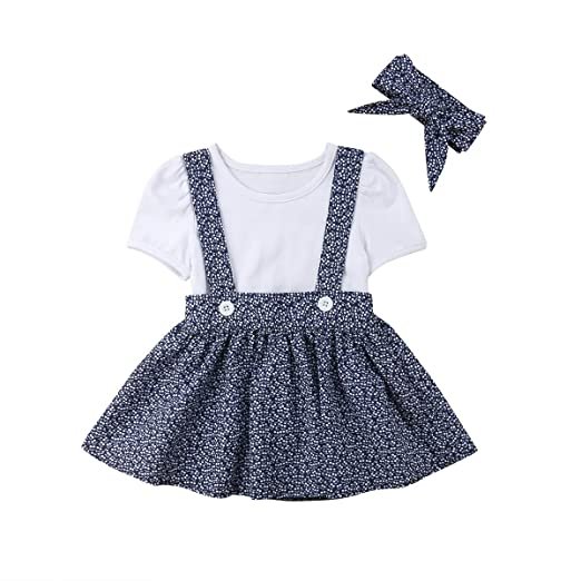 047a6fb0d0f 2PCS Toddler Baby Girls Summer Outfits Set Long Sleeve Romper+Suspender  Skirt Overall Clothes Set