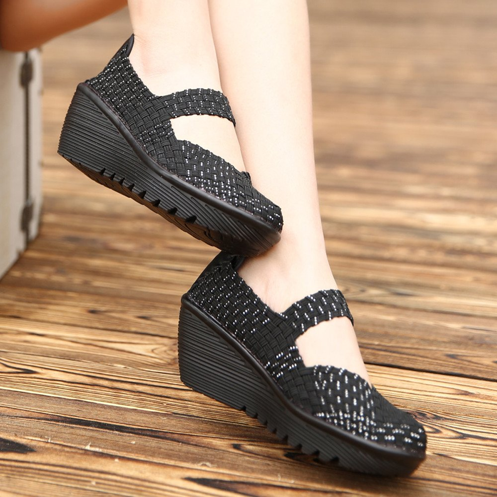 Clearance Sale Shoes For Shoes,Farjing Women's Fashion Casual Running Shoes Flats Shoes Sneaker Weave Rocking Shoes