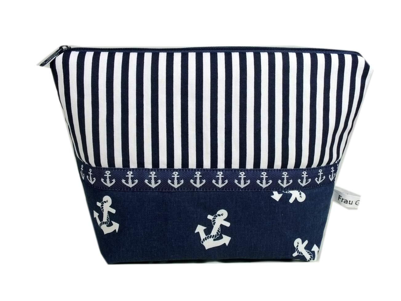 Kosmetiktasche blau Anker maritim wei/ß gestreift Meer Streifen handmade