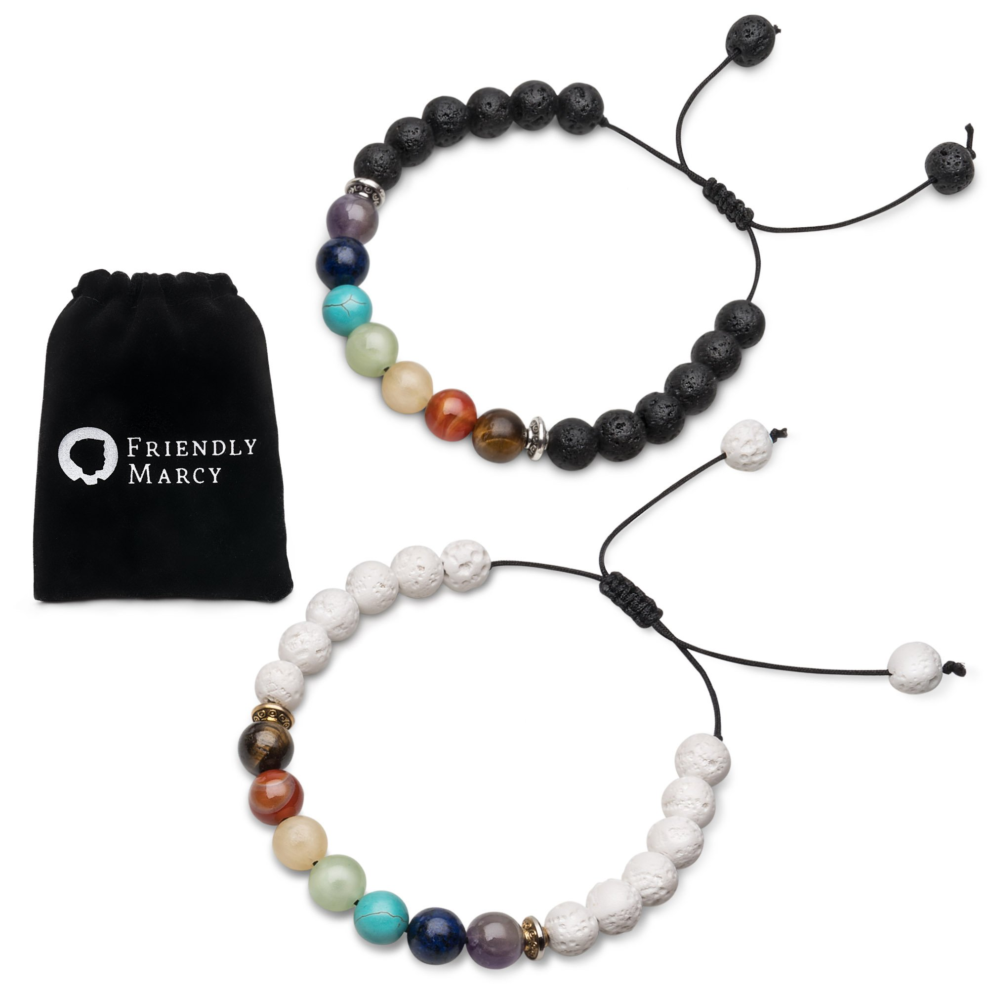 Chakra Bracelets-Natural Semi Precious Gemstones-Essential Oil Diffuser Lava Bracelets-Also Suitable as Couples Best Friend Distance Bracelets-Rock Stone Beads-Anxiety Relief Healing Protection Energy by Friendly Marcy