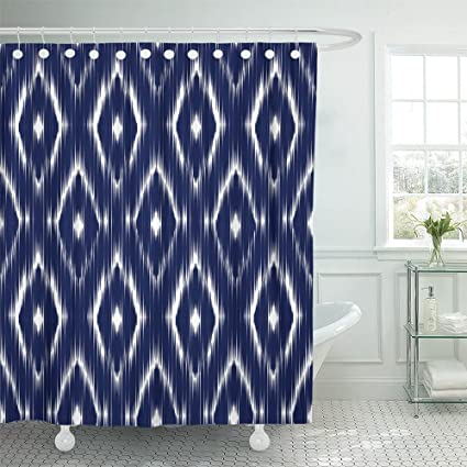 Emvency Shower Curtain 72quotx78quot Home Decor Ethnic Blue Ikat Ogee Pattern Abstract Design