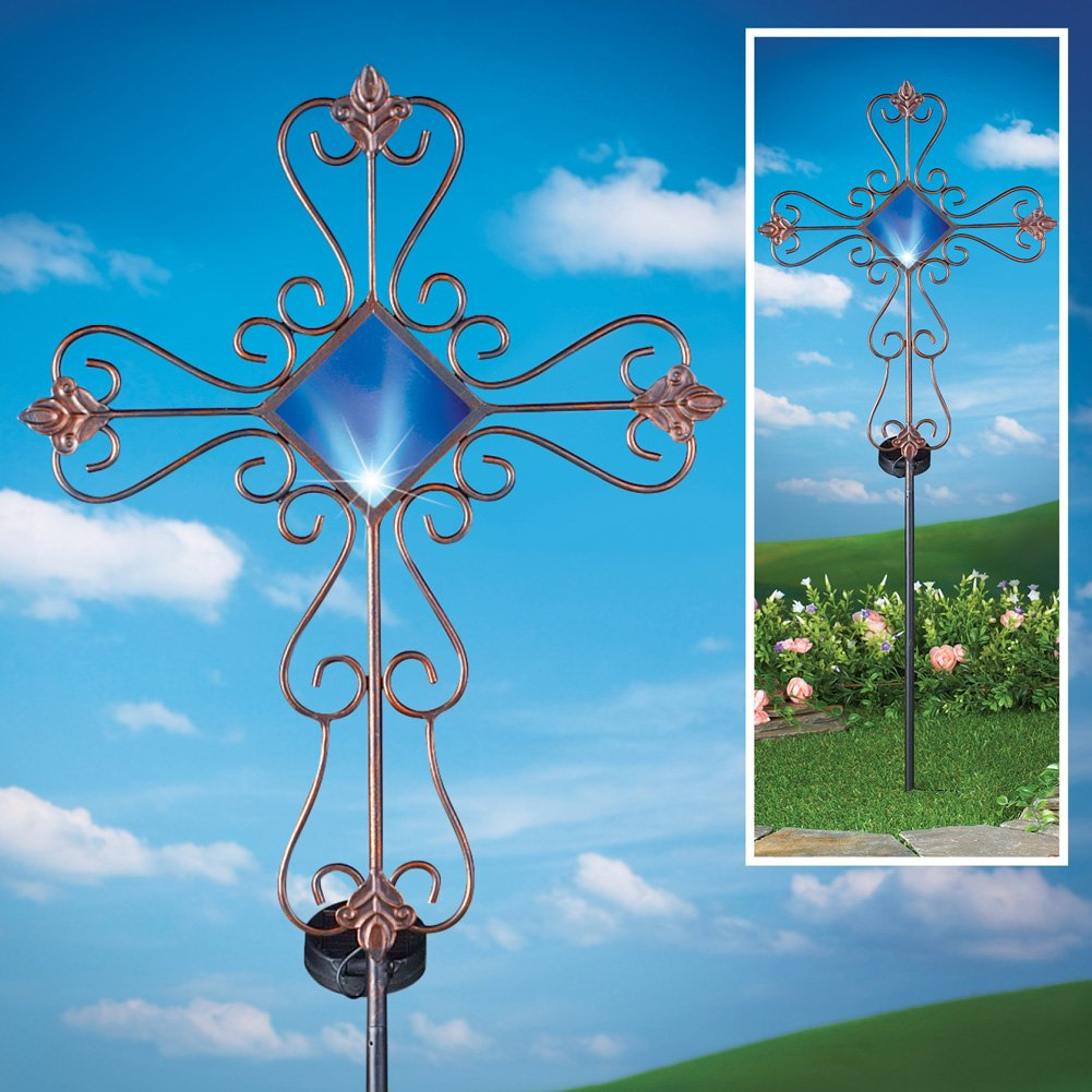 Collections Etc Scroll Cross Decorative Solar Outdoor Garden Stake by Collections Etc (Image #2)