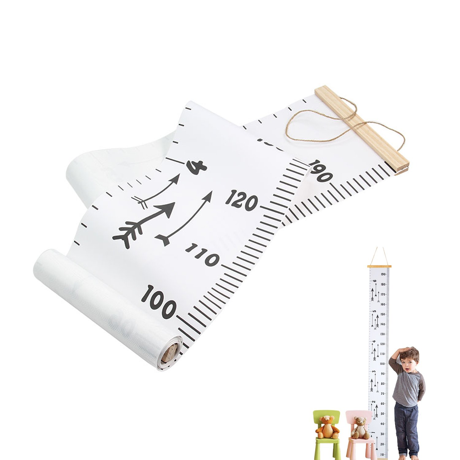Esky Height Growth Chart Kids, Height Measuring Ruler Baby Children Hanging Ruler Canvas + Pine Wood Frame Ruler Room Wall Room Decoration 79''x7.9''/200CMx20CM ¡