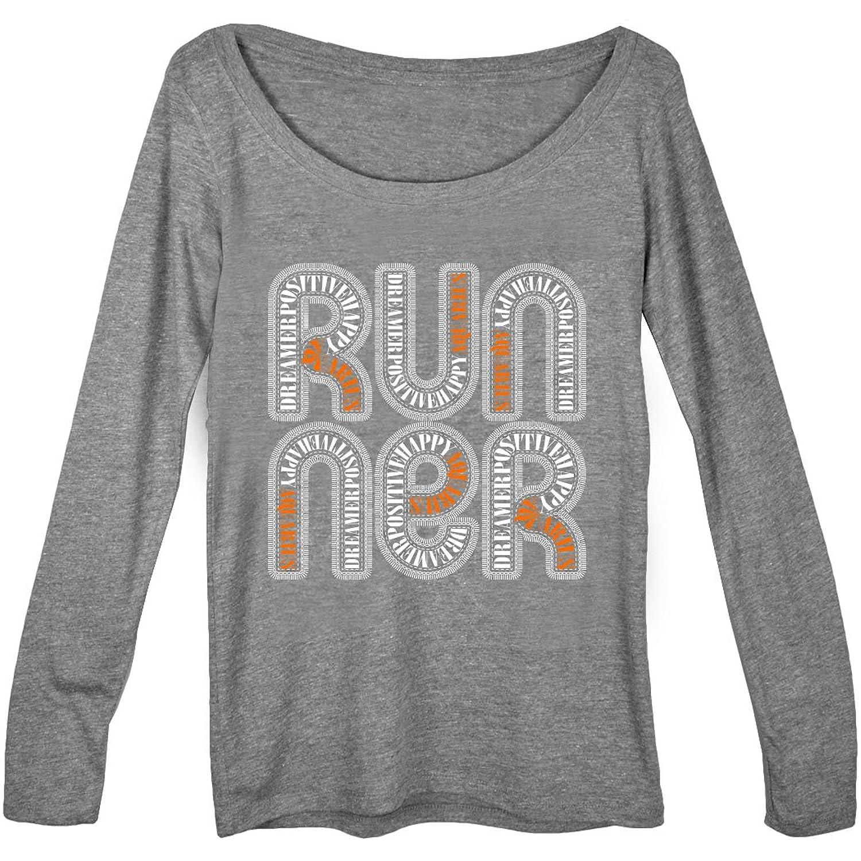 Gone For a Run Women's Runner Scoop Neck Long Sleeve Tee Aquarius Zodiac Runner