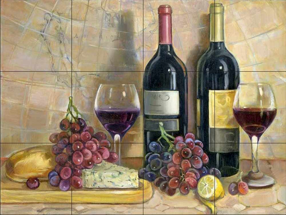 Ceramic Tile Mural - Bread and Wine - by Theresa Kasun - Kitchen backsplash/Bathroom shower