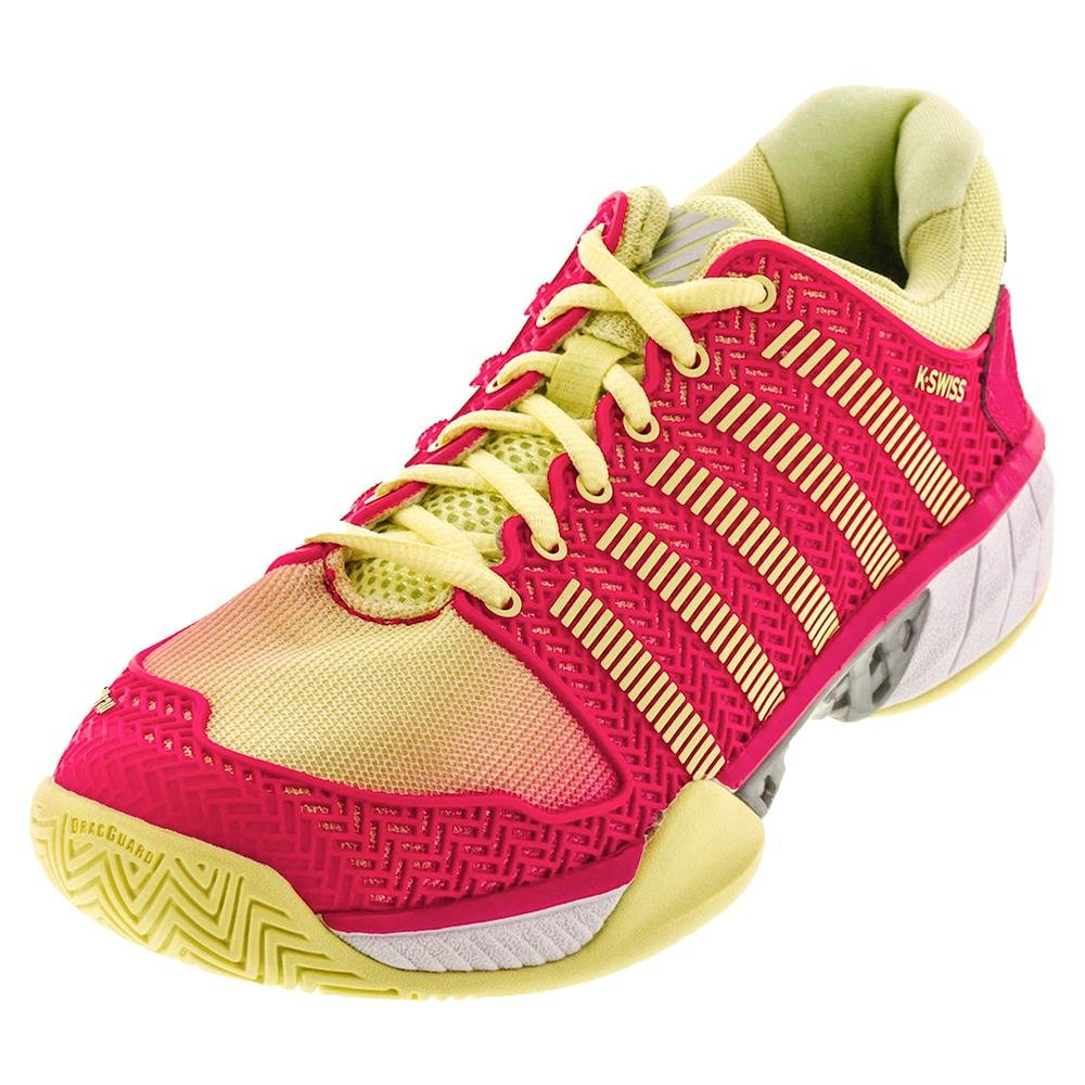K-Swiss Women's Hypercourt Express Tennis Shoe B06XBTFJYY 12 B(M) US|Pale Lime Yellow/Raspberry