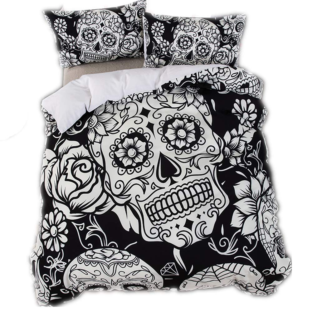 Noir, 140x200cm 1.2M Bed CHAOSE Parure de Lit Cr/âne 3D Polyester-Coton Rouge et Noir Housse de Couette