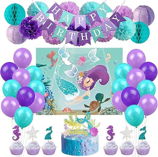 Amazon.com: Kreatwow - Kit de decoración de fiesta de sirena ...