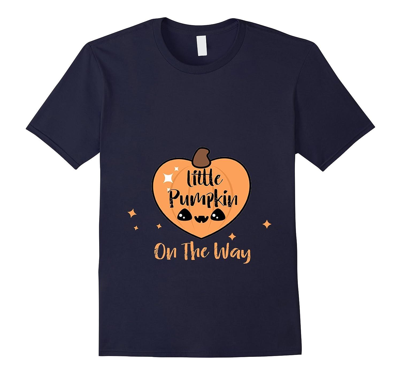 Womens Little Pumpkin On The Way T-Shirt Maternity Halloween-FL