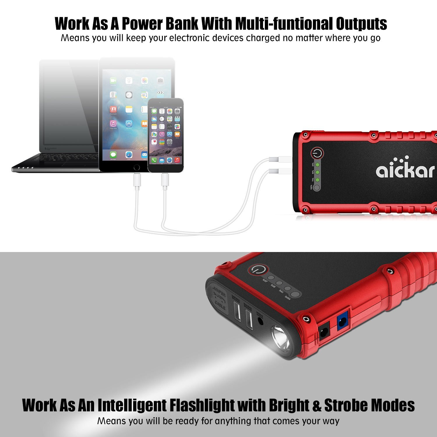 Aickar 800A Peak 19800mAh Car Jump Starter (All Gas & 4.5L Diesel Engine) Portable Car Battery Jump Starter, Power Bank, Built-in LED Flashlight with Car Jumper Cables Heavy Duty by aickar (Image #4)