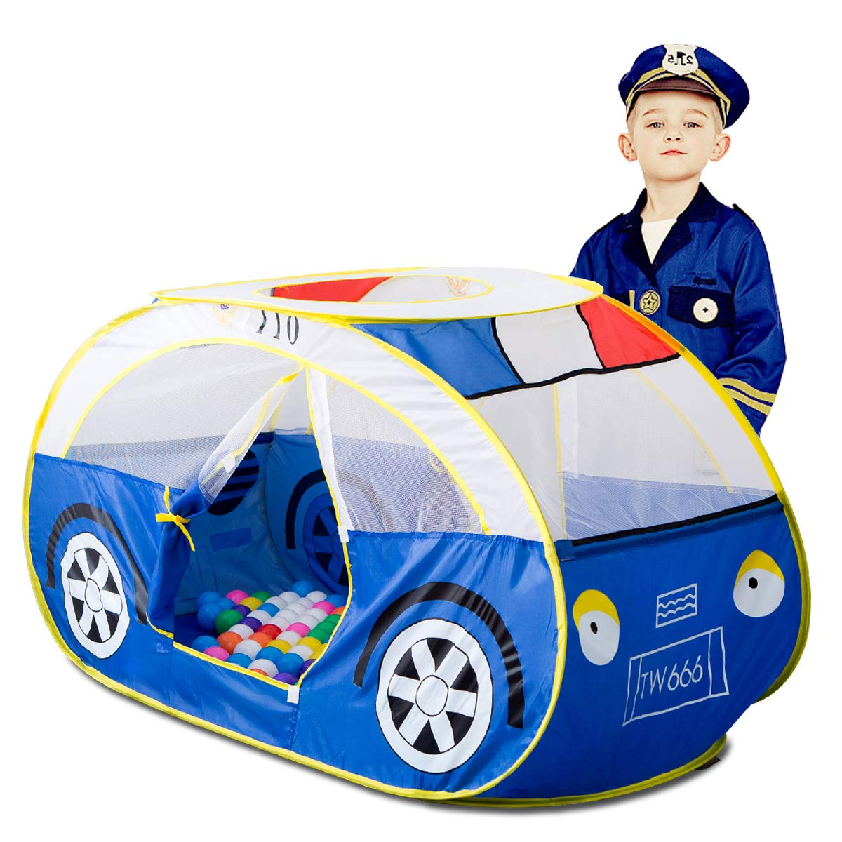 Artiron Police Car Play Tent, Indoor and Outdoor Kids Vehicle Castle Pop Up Tent Playhouse as Great Birthday Gift Toys for 1-8 Years Old Toddlers Baby Boys Girls (Police Car)