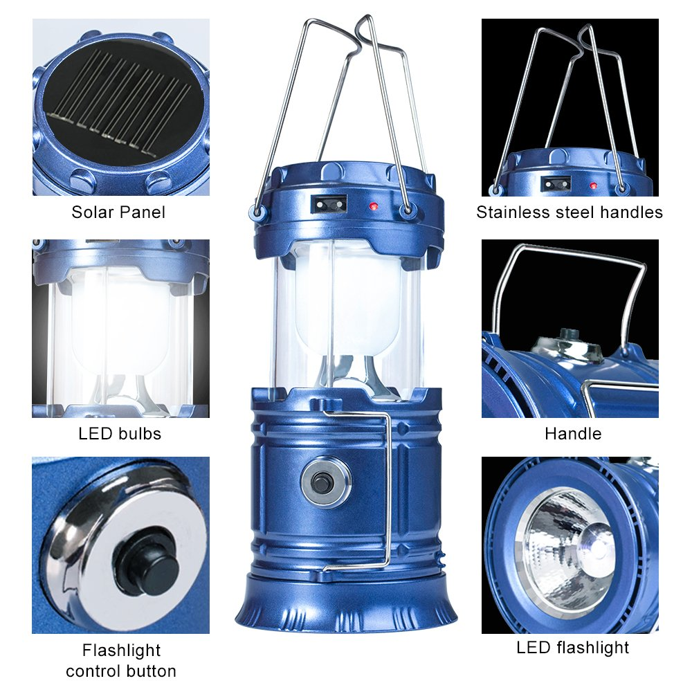 YIEASY Solar Camping Lanterns, 2 Pack Led Rechargeable Lantern Flashlight for Hurricane, Power Outages, Emergency, Collapsible and Portable (Blue) by YIEASY (Image #3)