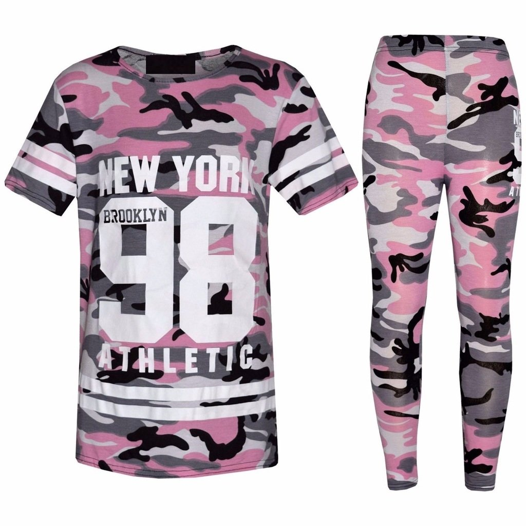 Girls Kids Camouflage NY Brooklyn 98 Loungewear Print Top & Legging Outfit Set Fashion Oasis