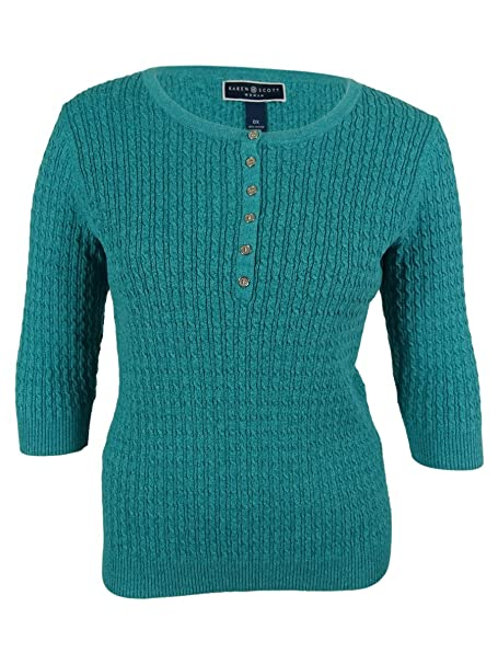 0d5f47176 Karen Scott Womens Plus Cable Knit Marled Henley Sweater Blue 1X at ...