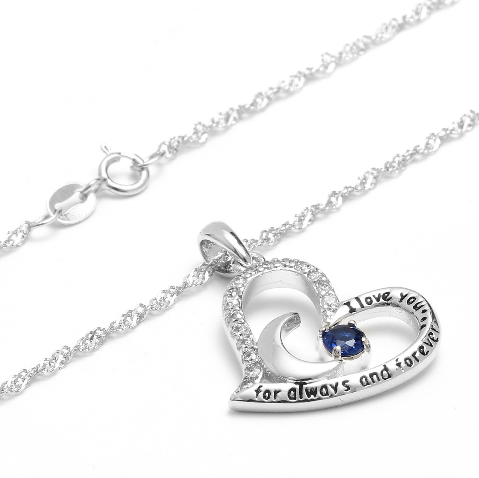 Valentine's Day Gift Fine Jewelry Gift Sterling Silver Heart Pendant Necklace Birthday Necklace I Love You For Always and Forever Dancing Birthstone (09-September-Sapphire) by Anna Crystal Jewelry (Image #2)