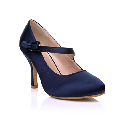 a7414f7559 Charlotte Navy Blue Satin High Heel Bridal Bow Mary Jane Shoes Size UK 3 EU  36