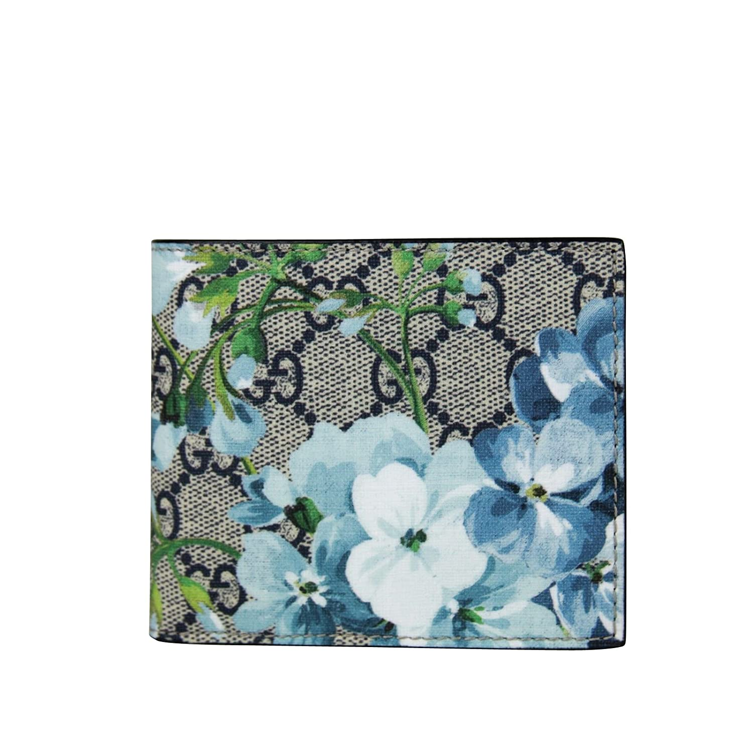 ed3a5553108d Gucci Bifold Beige/Blue GG Supreme Canvas Wallet With Blue Floral Print  408666 8499: Amazon.co.uk: Clothing