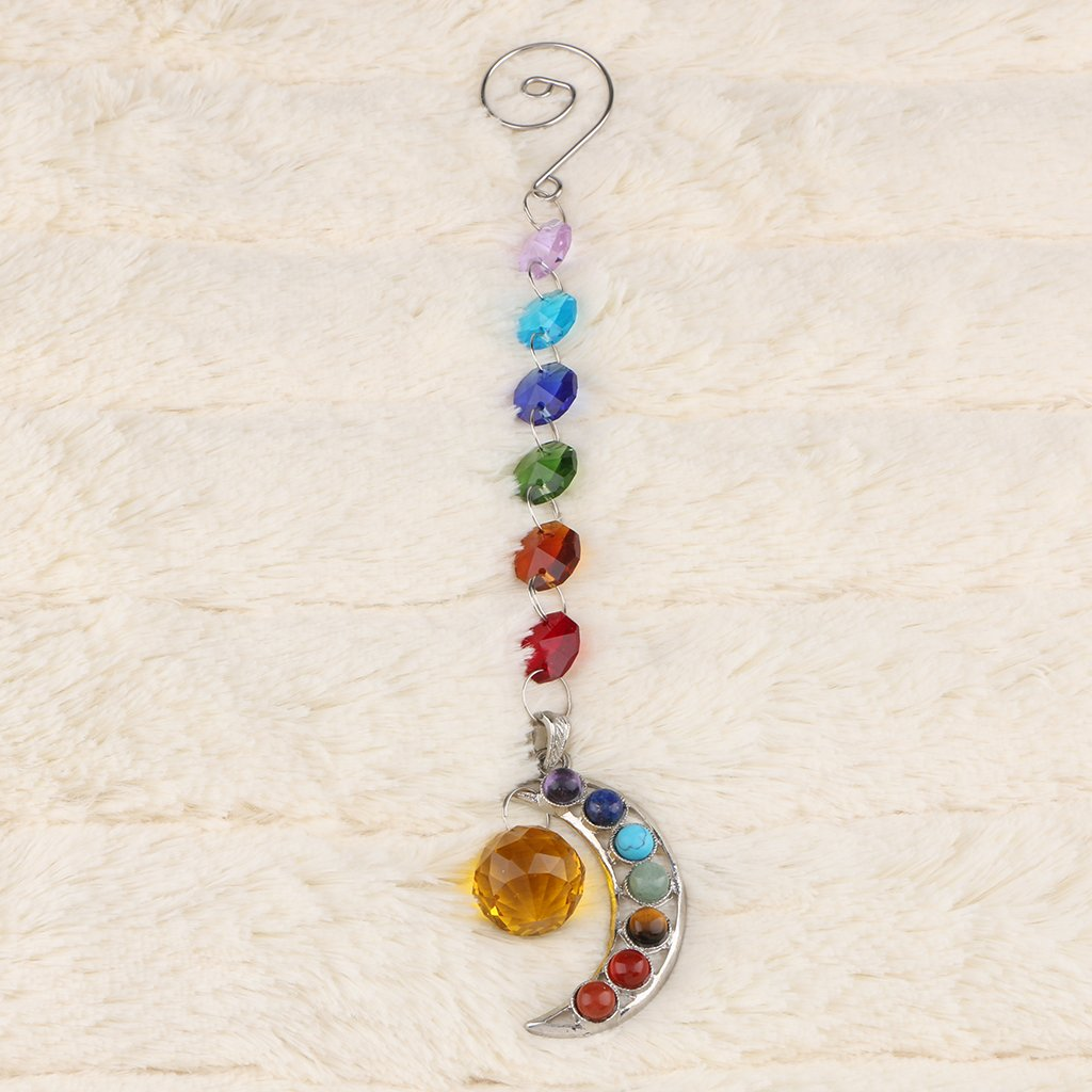 Blesiya Glass Crystal Ball Prism Maker Hanging Moon Shaped Suncatcher Window Decor 7 Colors Available Green
