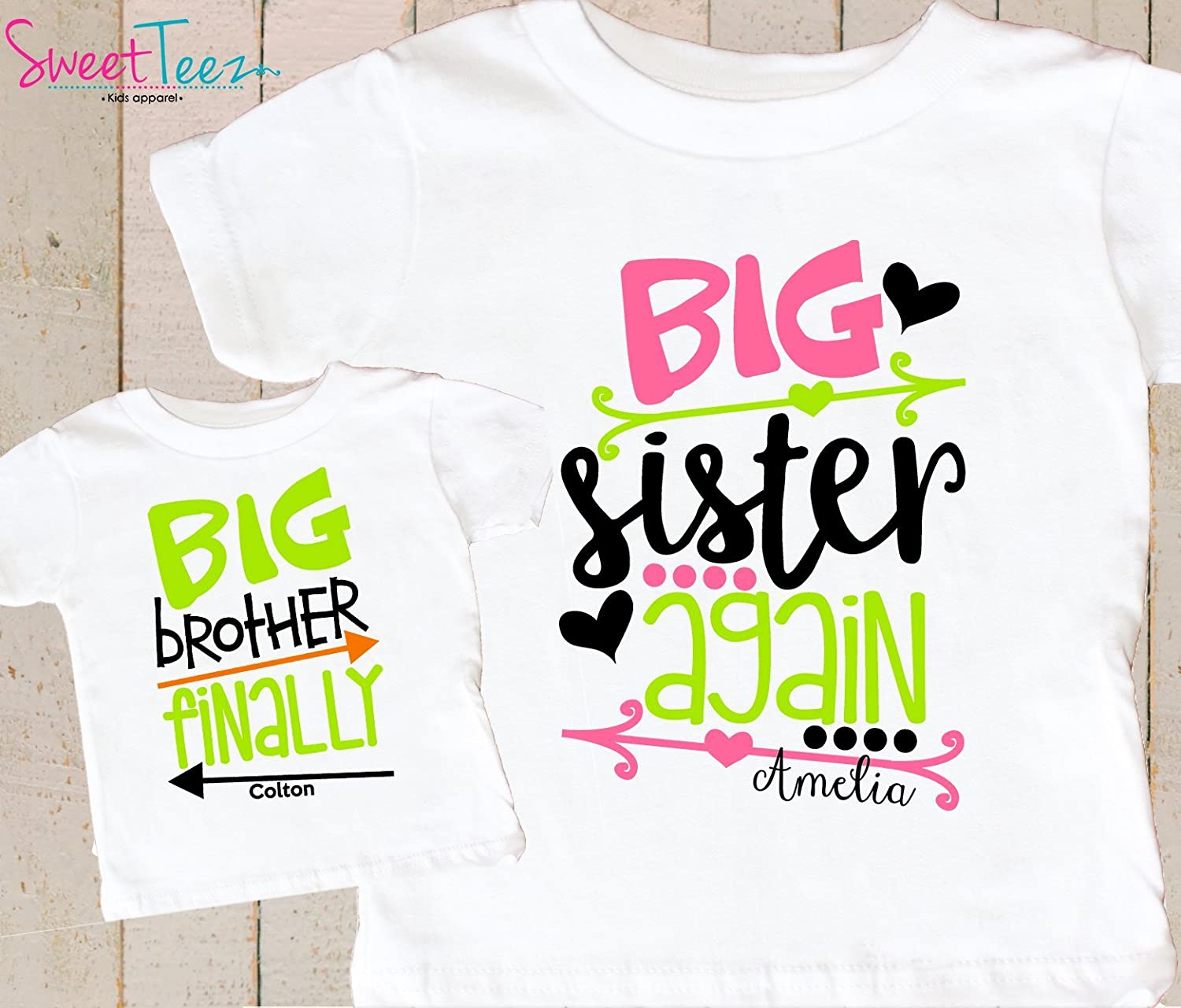Big Sister Again Big Brother Finally Shirts Set Personalized Pregnancy Announcement Shirts