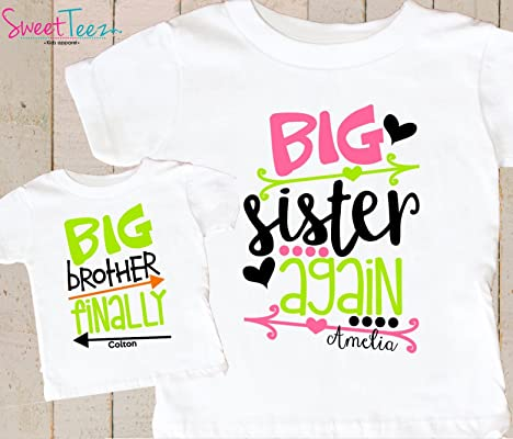 995f6cd2 Big Sister Again Big Brother Finally Shirts Set Personalized Pregnancy Announcement  Shirts