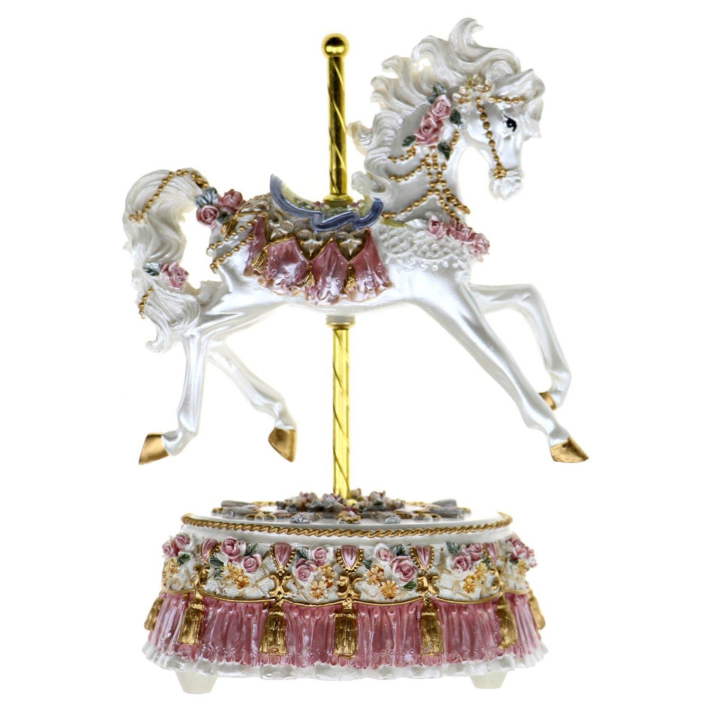 Cimogifts Luxury Music Box,Single Horse Design,Pink