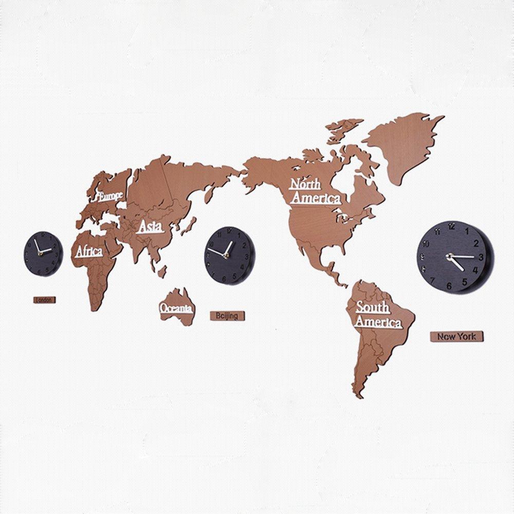 DEBON 木製 DIY 世界地図 連続秒針 スイフトムーブメント ウォールクロック 壁掛時計  (ブラウン) B0771FC4R8ブラウン