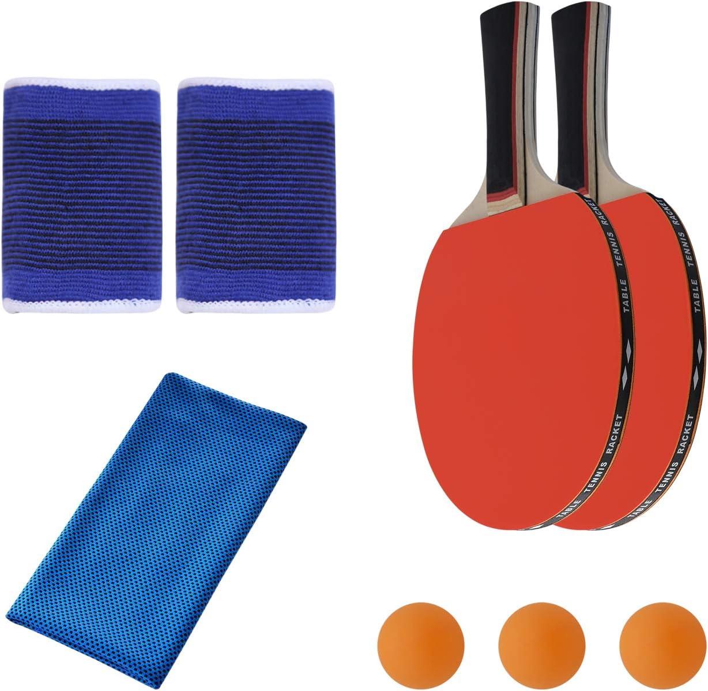 SONSYON Conjunto de Raqueta - Ligero de Paletas Ping Pong con Bolsa de Transporte para Jugar en Interiores y Exteriores