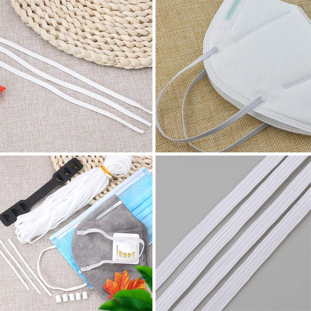 ATMOMO 4mm Width Flat Elastic Bands Elastic Cord Stretch String Rope Earloop Sewing String for DIY Craft Clothes Mask Making 196.8 Yards White