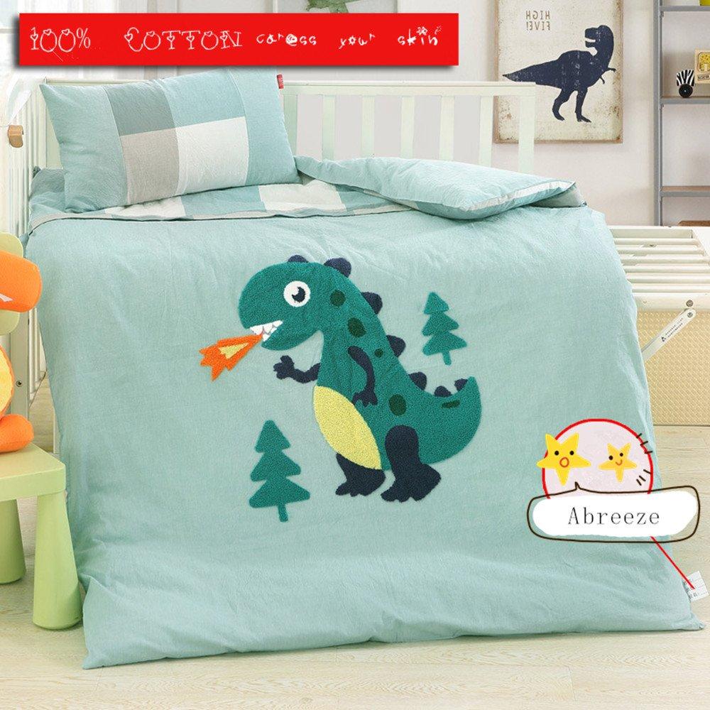 Abreeze Blue Cotton Nursery Crib Bedding Set for Boys Dinosaur Kids Bedding Collections,3pcs