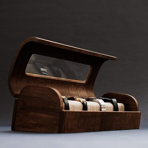 Relojero moderno de madera. Estuche para relojes exclusivo ...