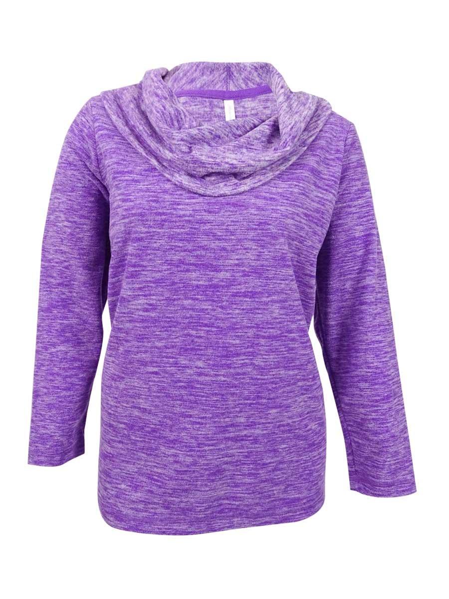 Ideology Womens Plus Fleece Space-Dyed Sweater Purple 3X