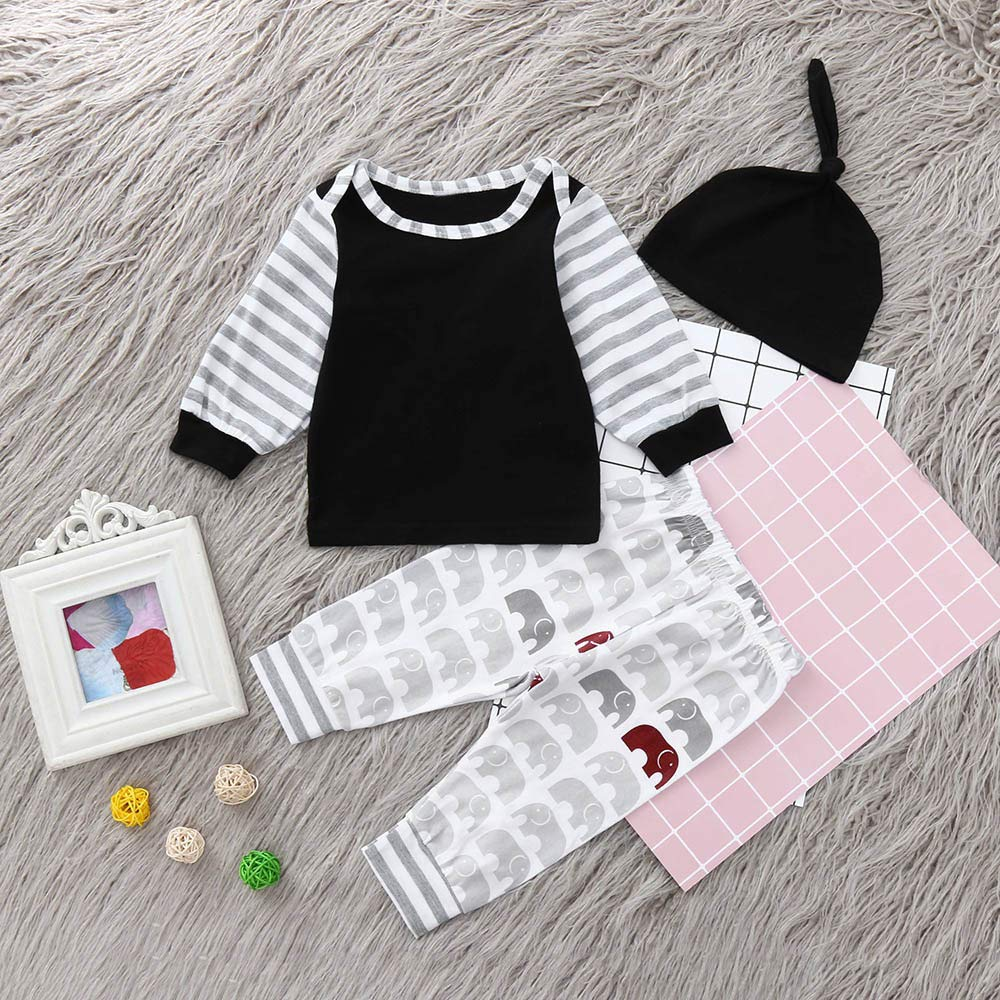 Lucoo Winter Outfits Set,Newborn Infant Baby Boy Striped T Shirt Tops Cartoon Pants Clothes Outfits Set