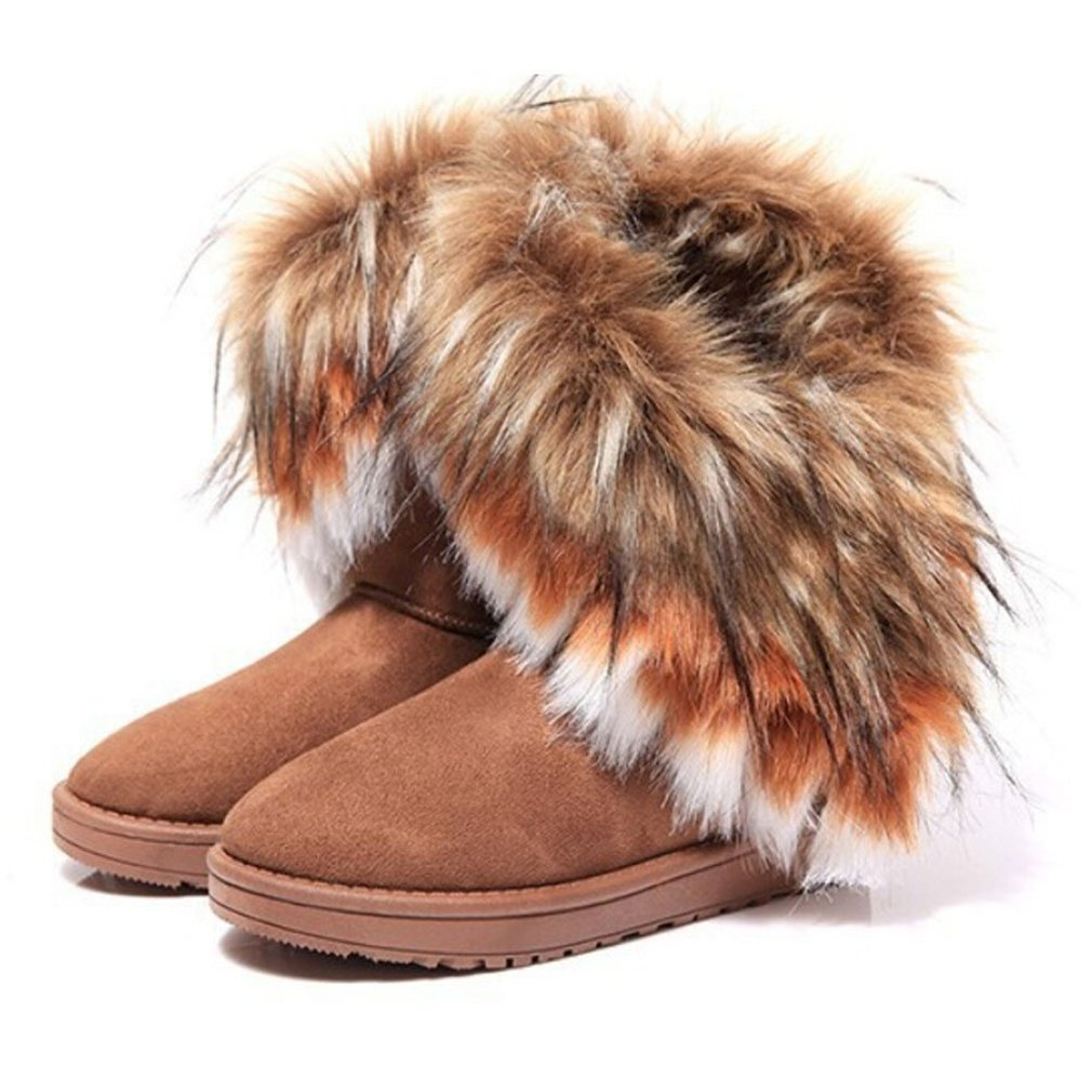 NOT100 Women Winter Warm High Long Snow Ankle Boots Faux Fox Rabbit Fur Tassel Shoes (US8, brown2)