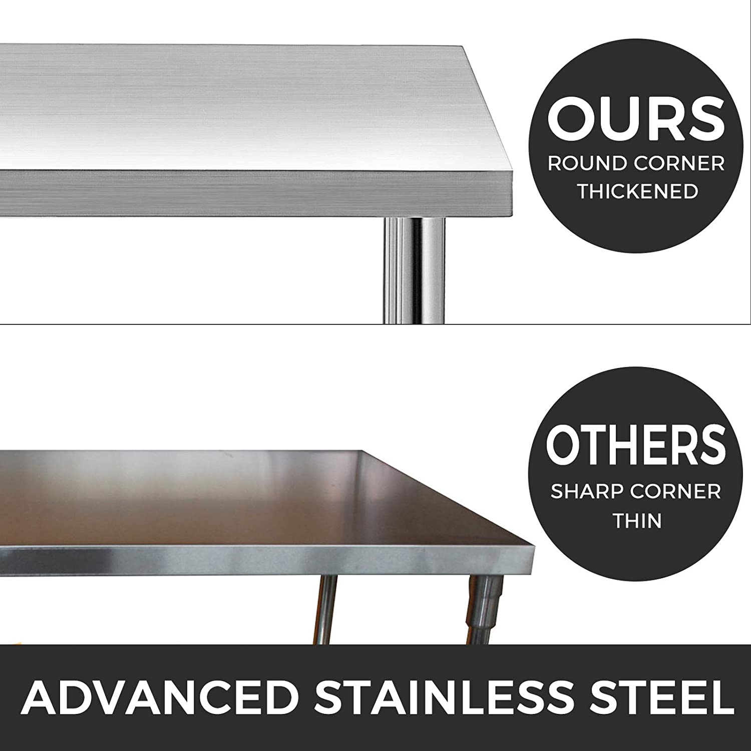 KITGARN Stainless Steel Catering Work Table 30x12 Inch with 4 Wheels Commercial Food Prep Workbench With Flexible Adjustment Shelf For Kitchen Prep Table 30x18 Inch