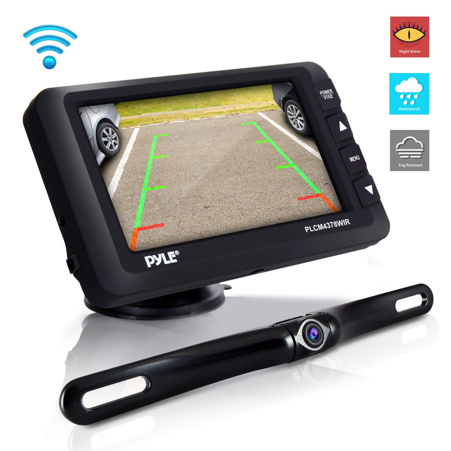 Wireless Rear View Backup Camera - Upgraded Vehicle Parking Reverse System w/Monitor Kit, IP67 Waterproof and Fog Resistant, 4.3'' LCD Screen, Tilt-Adjustable Dash Cam, Night Vision - Pyle
