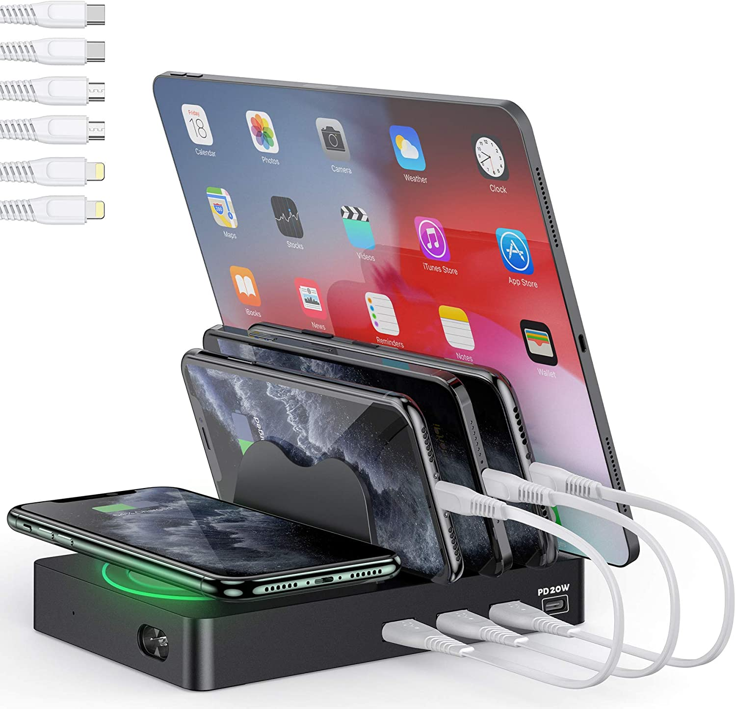 undassenk Fast Charging Station for Multiple Devices, 50W 4 Port Quick Charger Dock (1 PD 20W USB-C and 3 USB-A) with Wireless Charging, Compatible with Apple iPhone/iPad/Samsung/Android