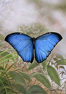 Toland Home Garden Blue Morpho 12.5 x 18 Inch Decorative Spring Summer Butterfly Portrait Garden Flag